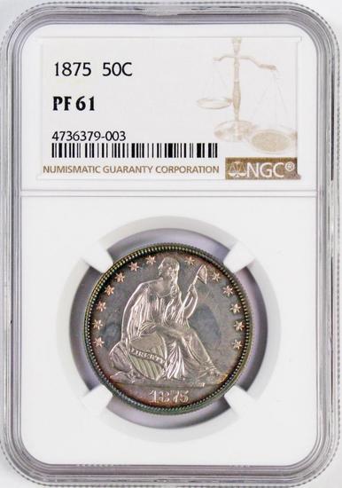 1875 Seated Liberty Silver Half Dollar (NGC) PF61.
