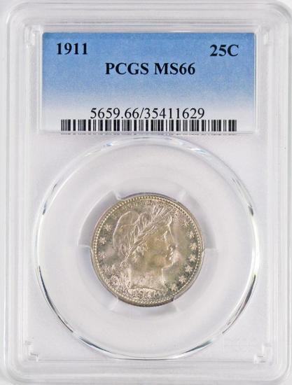 1911 P Barber Silver Quarter (PCGS) MS66.