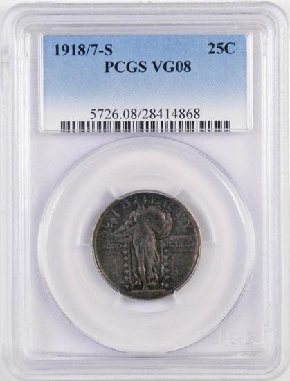 1918/7 S Standing Liberty Silver Quarter (PCGS) VG08.