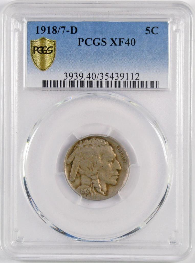 1918/7 D Buffalo Nickel (PCGS) XF40.