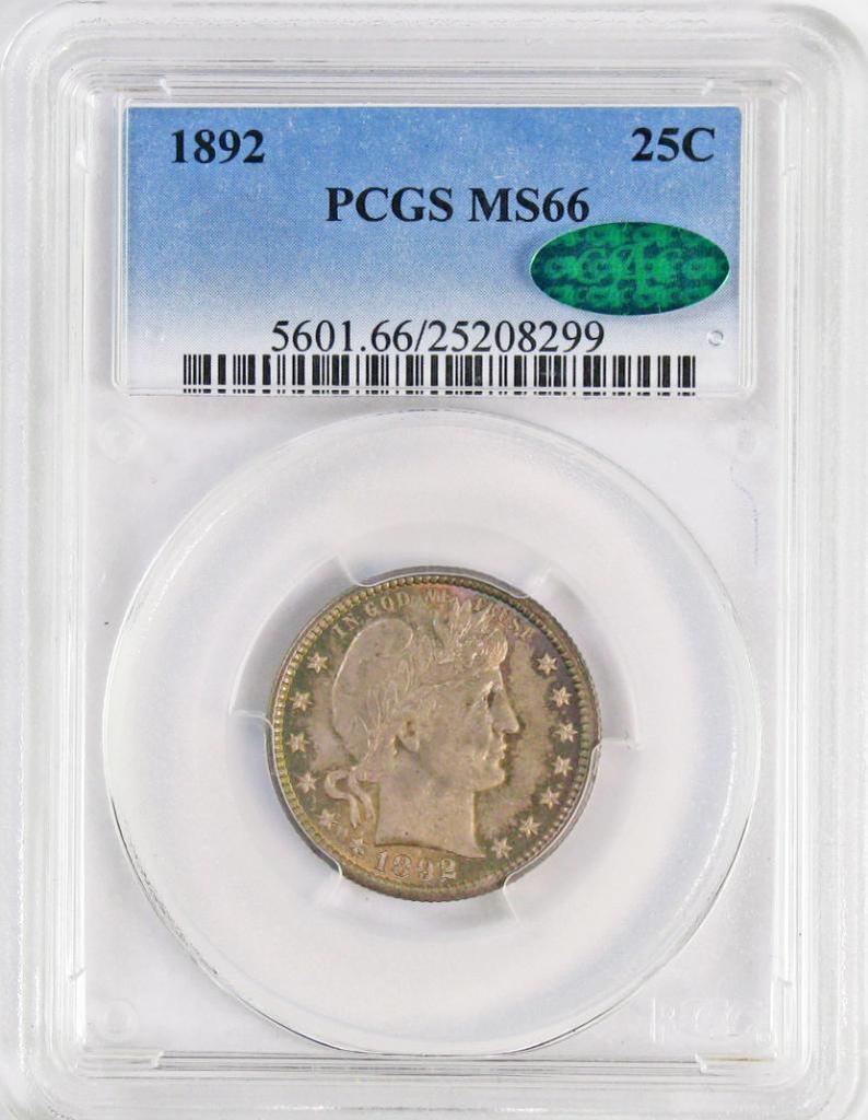 1892 P Barber Silver Quarter (PCGS) MS66 CAC.