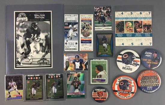 Group of Chicago Bears Rookie Cards, Pinbacks, tickets stubs and more