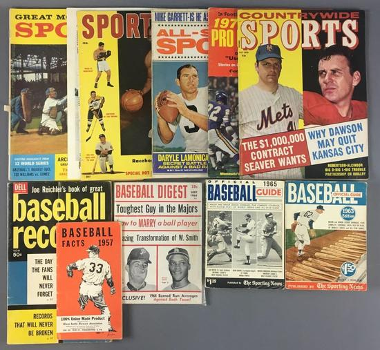 Group of Vintage Sports Magazines and Books