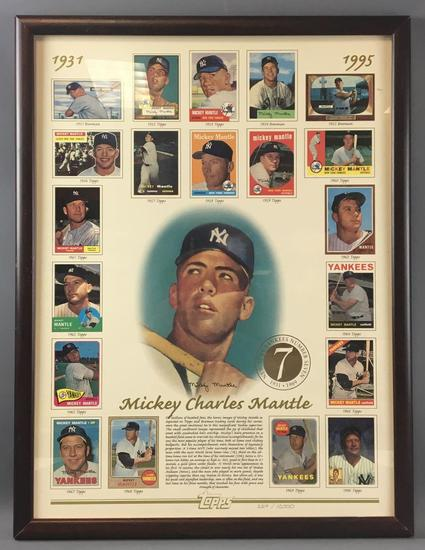 Mickey Mantle Framed and Numbered Baseball Card Poster