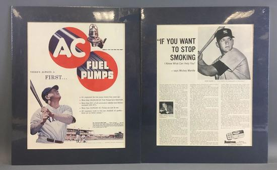 Vintage Babe Ruth and Mickey Mantle Advertising Ads