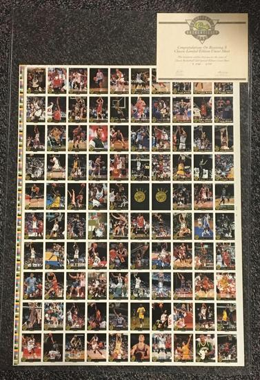 1993 Classic Basketball Gold Numbered Limited Edition Uncut Sheet