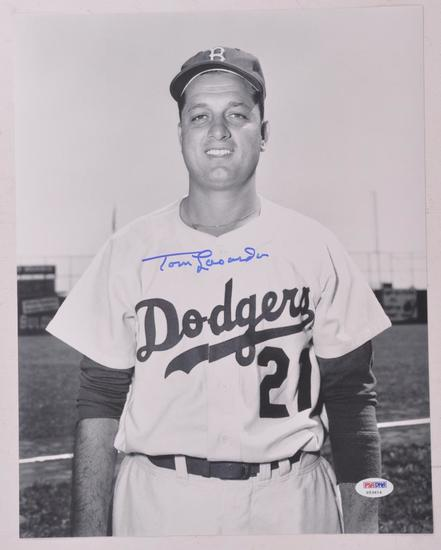 LA Dodgers Tom Lasorda Signed Photograph with PSA DNA Certification Sticker