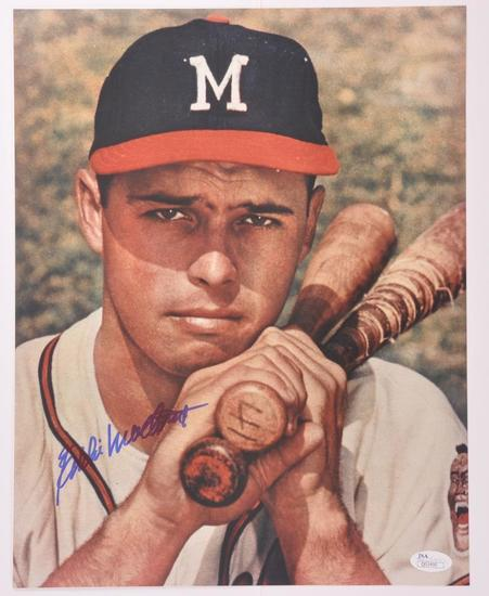 Milwaukee Braves Eddie Mathews Signed Photograph with JSA COA