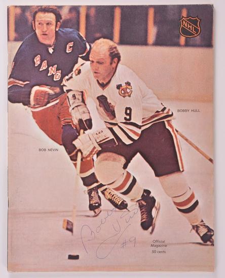 Chicago Blackhawk Bobby Hull Signed NHL Magazine