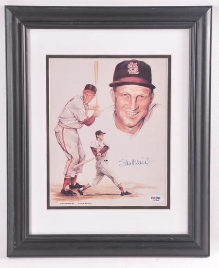 St. Louis Cardinals Stan Musial Signed Print with PSA DNA COA
