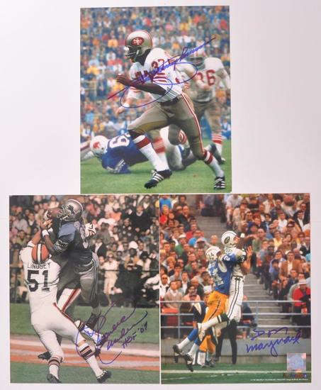 Group of 3 Signed National Football League Players Photograph's