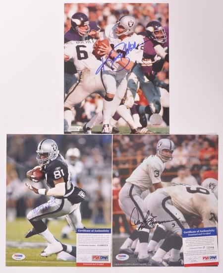 Group of 3 Signed Oakland Raiders Football Player Photograph's