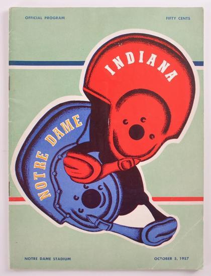 Vintage Norte Dame vs Indiana 1957 Program