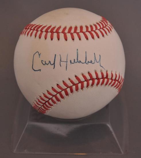 New York Giants Carl Hubbel Signed Baseball with JSA LOA