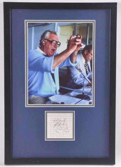 Chicago Cubs Announcer Harry Caray Cut Signature with Photograph and JSA COA