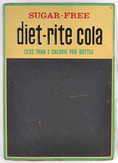 Vintage Diet Rite Cola Advertising Metal Chalkboard Sign