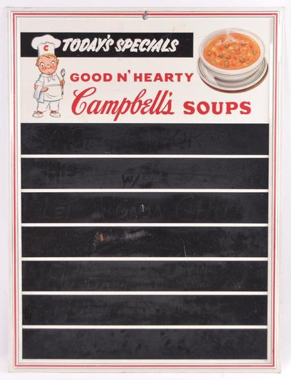 Vintage Campbell's Soups Advertising Metal Chalkboard Sign