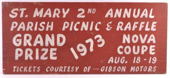 Vintage St. Mary 2nd Annual Parish Picnic and Raffle Wood Sign