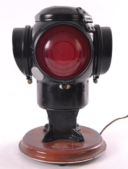 Antique Adlake Railroad Light Electrified Table Lamp
