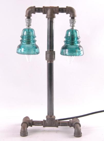 Custom Made Glass Insulator Table Lamp