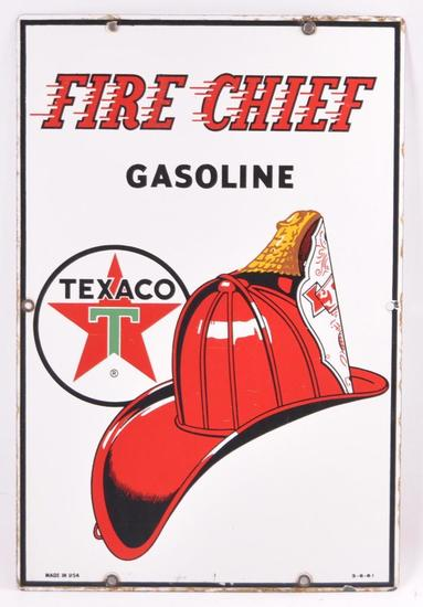 Vintage Texaco Fire Chief Gasoline Porcelain Pump Plate