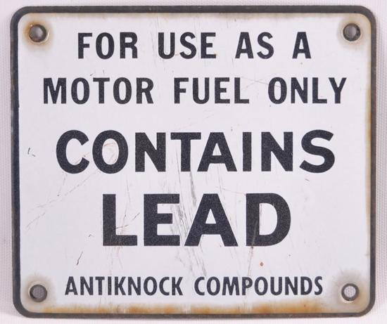 "Vintage ""Contains Lead"" Metal Pump Plate"