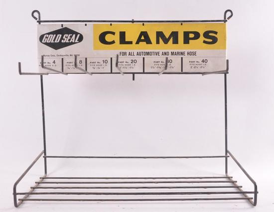 Vintage Gold Seal Clamps Advertising Countertop Display Rack