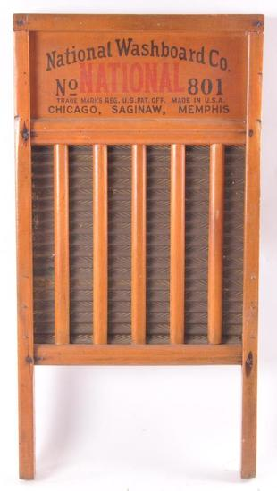 Vintage National Washboard Co. N0. 801 Wooden Washboard