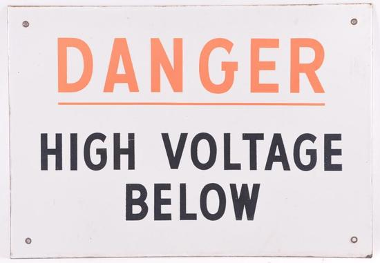 Danger High Voltage Porcelain Enameled Metal Sign