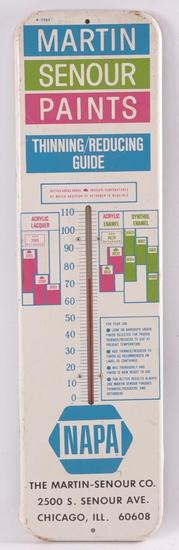 Vintage NAPA Martin Senour Paints Advertising Metal Thermometer