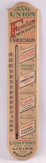 Grand Union Furniture Merchants and Undertakers Wood Thermometer
