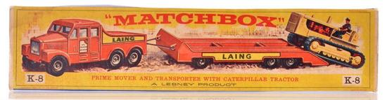 Matchbox King Size K-8 Prime Mover and Transporter with Caterpillar Tractor
