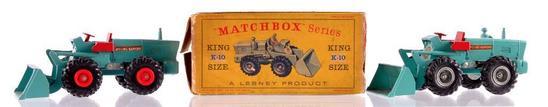 Group of 2 Matchbox King Size K-10 Aveling Barford Tractor Shovels