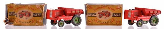 Group of 2 Matchbox King Size K-2 Muir-Hill Dumper Die-Cast Vehicles with Original Boxes