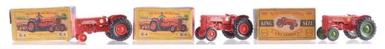 Group of 3 Matchbox King Size K-4 International Tractors Die-Cast Vehicles with Original Boxes