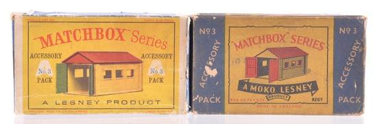 Group of 2 Matchbox Accessory Pack A-3 Metal Lock Up Garages with Original Boxes