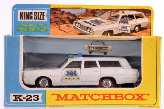 Matchbox King Size K-23 Mercury Police Car Die-Cast Vehicle with Original Box