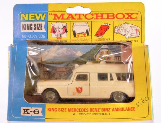 """Matchbox King Size K-6 Mercedes Benz """"Binz"""" Ambulance Die-Cast Vehicle with Original Box"""