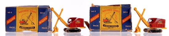 Group of 2 Matchbox Major Pack No. 4 Ruston Bucyrus Die-Cast Cranes with Original Boxes