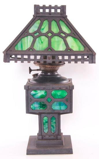 Antique Cast Iron Table Lamp with Stained Glass Shade