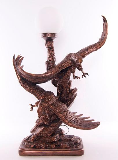 "Vintage ""The Vision"" Eagles Flying Table Lamp"