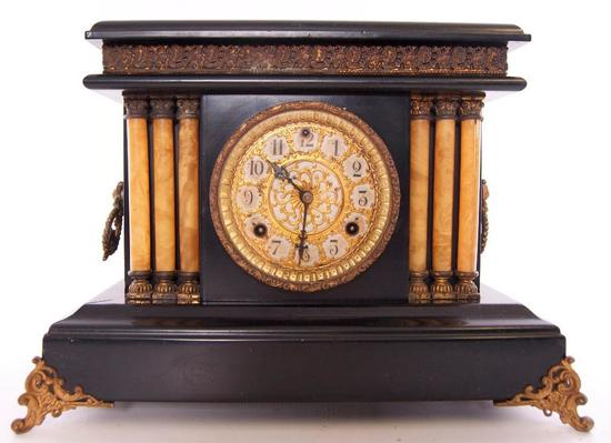 Antique Mantle Clock with Ornate Scroll Feet