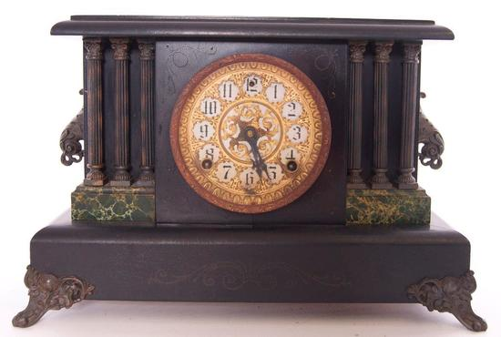 Antique Attleboro Mantle Clock with Scroll Feet