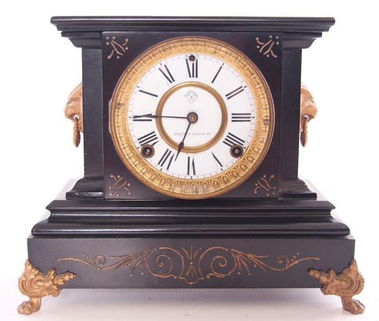 Antique Ansonia Metal Mantle Clock with Lions Head and Feet