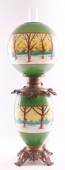 Antique Gone with the Wind Lamp with Snowy Forest Design on Base Glass and Globe