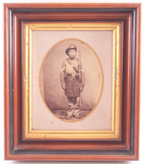 Antique Photograph of a Civil War Era Soldier in Walnut Frame