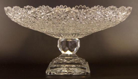 "Antique Cut Crystal ""Daisy and Bows"" Compote"
