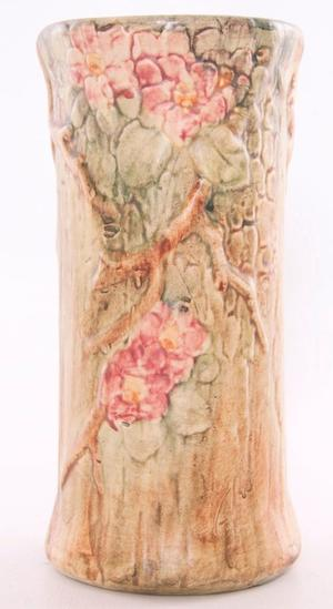 Vintage Weller Woodcraft Vase with Floral Design