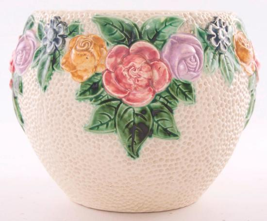 Vintage Jardiniere with Open Rose Design