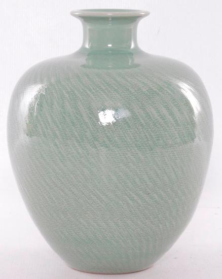 Vintage Sage Colored Porcelain Vase with Signature